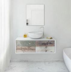Meuble vasque salle de bain en bois patiné et blanc mat