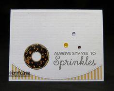 Smiling while Stamping Handmade birthday donut card using MFT Donut & Sprinkles stamp set