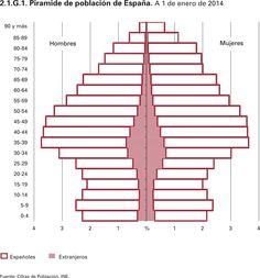 Pirámide de población de España. A 1 de Enero del 2014.