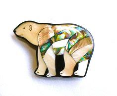 Mother of Pearl Polar Bear Brooch Abalone Pin by silvermoonstars