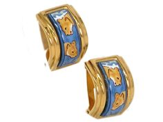 #HERMES Enamel Clip Earring Cloisonne/Palladium Blue/Gold (BF078883). Authenticity guaranteed, free shipping worldwide & 14 days return policy. Shop more #preloved brand items at #eLADY: http://global.elady.com