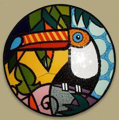 Quadro em mosaico de azulejos cerâmicos.