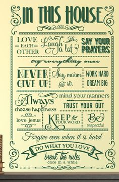 In This House We Do Decal - 0109, Rules Decal, Family Rules, Family Wall Decals, House Rules