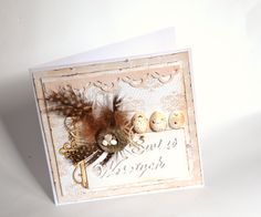 Easter card with feathers and eggs handmade by Bluebell Easter Card, Feathers, Eggs, Scrapbook, Frame, Cards, Handmade, Home Decor, Picture Frame