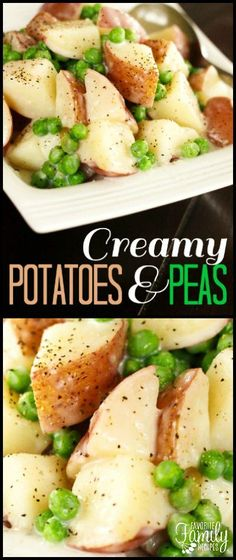 Creamy Potatoes and Peas were a favorite side dish growing up. It is creamy comfort food at it's best, especially with peas fresh from the garden. #sidedish #potatoes #peas #potatoesandpeas