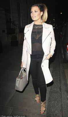 Striking: Jessica Wright wore a very revealing sheer top for an evening out at Essex night...