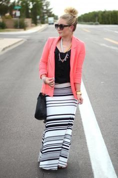 gray white and black striped maxi skirt outfit ideas - Google Search