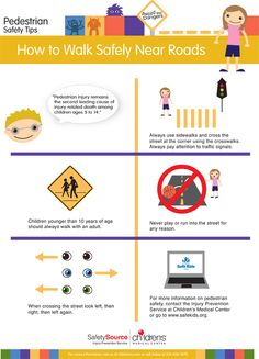 "This ""how to walk safely to school and near roads"" infographic is designed for adults to share with children."