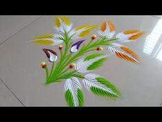 Very easy and attractive rangoli design by Jyoti Raut Rangoli Rangoli Designs Peacock, Simple Rangoli Border Designs, Easy Rangoli Designs Diwali, Beautiful Rangoli Designs, Rangoli Borders, Small Rangoli Design, Rangoli Patterns, Colorful Rangoli Designs, Rangoli Ideas