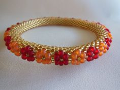 My bangles are made using the Bulgarian method of slip-stitch crochet. Each one is made using the finest bead brands in various shapes, sizes and