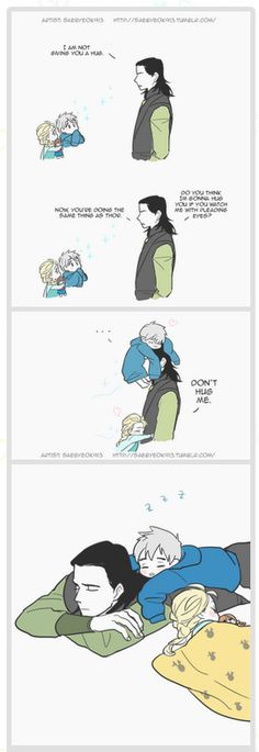 Jack Frost and Elsa wear down Loki. THIS IS ADORABLE