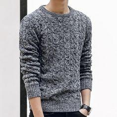 Mens Winter Casual Men Melange O-neck Warm Sweaters