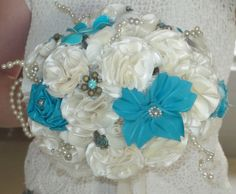 Bridal Bouquet  Ivory with Tiffany Blue by sewmillionstitches, $100.00
