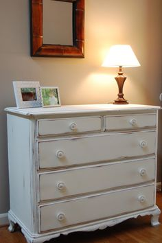 Vintage Ethan Allen Dresser, Painted In Old White Chalk Paint By Annie  Sloan With A
