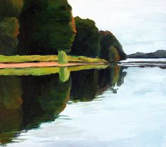"Susan Larkin Oil Painting ""Mississquoi Reflection"" at the Bryan Memorial Gallery, Jeffersonville, VT"