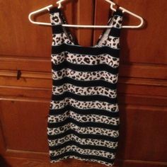 Bar lll dress Black White Turquoise leopard print striped dress. Only worn once. Make offer. Bar III Dresses Mini