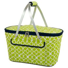 Picnic At Ascot Trellis Collapsible Insulated Basket Color: Green
