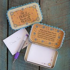Use an Altoid tin to make a prayer box. Write your requests or for others.