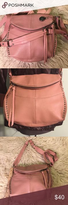 """Stunning Mauve crossbody bag by The Sak Beautiful purse by The Sak, crossbody bag leather with silver studs super cute and in new condition!! This bag measures 9""""h x 9""""w x 4""""d The Sak Bags Crossbody Bags"""