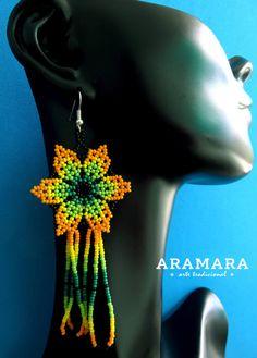 Mexican Huichol Beaded Long Flower Earrings AF-0069 by Aramara