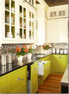 I love the color of the cabinets! with the flowers and the glass paneling and the floors