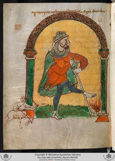 New digitized manuscripts from the Vatican Library! Reg. lat. 438 27v  A barefoot soldier warms his foot at a fire.