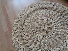 """Вязаный коврик """"Верность"""" - белый,молочный,круглый,ковер,коврик,вязаный"""