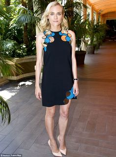 Diane rocked a cute black minidress with geometric-print detailing in a photocall for The Bridge http://dailym.ai/1ogPXzw