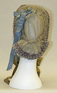 "1863 ... Bonnet ... cotton, silk & metal ... Length: 7.75"" ... American ... at Metropolitan Museum of Art ... photo 3"