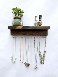 Necklace Holder Holds 23 Necklaces or Bracelets by TheKnottedWood