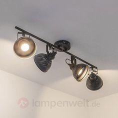 Deckenleuchte Etienne 4-flammig Rustikal Nostalgisch Deckenlampe Schwarz Silber