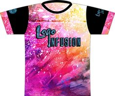 Logo Infusion Signature Crew Pink Dye Sublimated Jersey. Our signature crew neck jersey in pink!  Logo Infusion logo full front and left sleeve.  Made in USA logo right sleeve  Infuse Your Game locker tag.