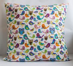 Colorful Birds and Owls Pillow Cover 20x20 by MomistaBeginnings // Momista & Pop Shop on Etsy