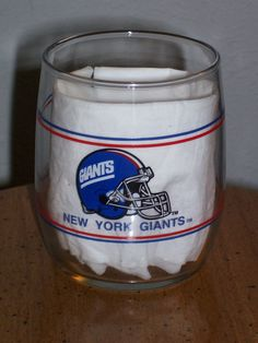 New York Giants NFL Old Fashion Rocks Bar 90's Gas Station Giveaway Glass-NEW #NewYorkGiants