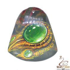 Beautiful Pendant Hand Painted gem Natural Gemstone Stone necklace ZL802640 #ZL #Pendant