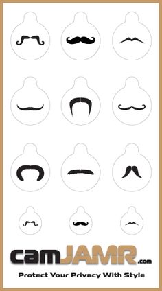 The camJAMR Mustache Pack includes 9 different mustache designs. Which mustache will your device wear? Price: $4.99  camJAMR webcam covers are removable, reusable, durable and safe.   Protect Your Privacy With Style!