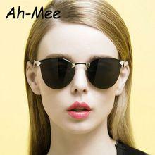 the best 2015 vogue Cat eye Sunglasses women men brand designer rimless twist curve Fashion Summer glasses oculos de sol feminino S15096 sale