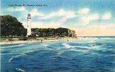 St Simons Island Georgia GA 1940s Government Lighthouse Vintage Linen Postcard