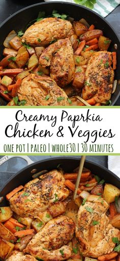 One pot creamy paprika chicken that's a dairy free, 30 minute Whole30 meal that's a super easy weeknight meal or paleo meal prep option. It's family friendly and loaded with your favorite veggies! #whole30chicken #whole30onepot #paleocreamychicken #paleochickenrecipes