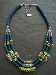 Triple Strand African Venetian Trade Beads by GEMILAJewels on Etsy