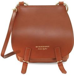 Burberry Bridle Grainy Leather Shoulder Bag, Tan
