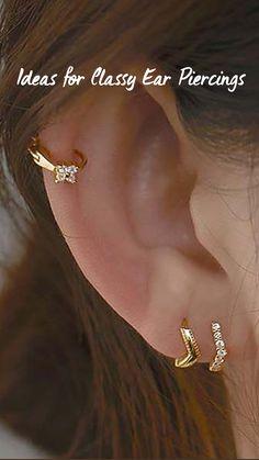 Fancy Jewellery, Trendy Jewelry, Fashion Jewelry, Women Jewelry, Pretty Ear Piercings, Top Of Ear Piercing, Double Lobe Piercing, Ear Cuff Piercing, Cartilage Piercings