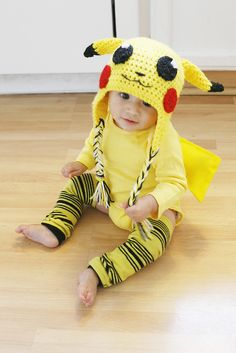 A simple, inexpensive how-to for making a DIY Pikachu Pokemon Costume… Diy Baby Costumes, Cute Costumes, Halloween Cosplay, Baby Halloween, Halloween Costumes For Kids, Baby Pikachu Costume, Pokemon Costumes, Baby Pokemon, Halloween Crochet Patterns
