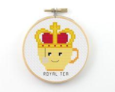 Royal Tea Cross Stitch pattern, tea pattern, tea pun pattern, tea cup pattern, counted cross stitch, tea pdf pattern, funny cross stitch
