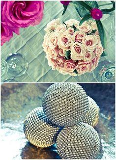 DIY idea: decor balls wrapped in beaded garland