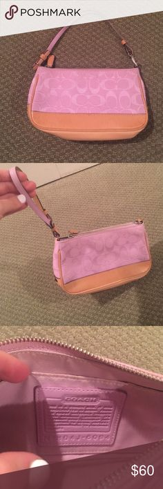 Coach Pink Purse / Wristlet ! 👛 Super cute Coach bag. I've used it as a mini purse or as a wristlet . Can change up the strap as shown. Slight makeup stain inside but outside is completely clear and in perfect condition! Coach Bags Clutches & Wristlets