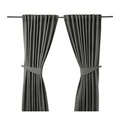 """Hung just under lip of ceiling cove and about 12"""" past window frame, frames sheers in the middle. Tiebacks aren't used! BLEKVIVA Curtains with tie-backs, 1 pair - IKEA"""