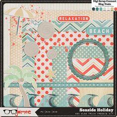 Seaside Holiday Digital Mini Scrapbooking Kit Freebie