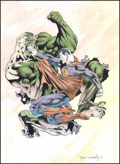 "alexhchung: ""Hulk versus Superman by Bernie Wrightson "" Comic Book Artists, Comic Book Characters, Comic Character, Comic Books Art, Comic Art, Marvel Characters, Hulk Vs Superman, Hulk Marvel, Superman Stuff"
