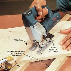 Use a Fence for Perfectly Straight Cuts - A jigsaw is versatile enough to make straight, compound and beveled cuts through boards. Hold the workpiece firmly and guide the saw steadily against a saw fence. Avoid driving blades into the benchtop (bending an Woodworking Jigsaw, Woodworking Joints, Woodworking Workbench, Woodworking Furniture, Woodworking Crafts, Woodworking Patterns, Woodworking Techniques, Woodworking Beginner, Woodworking Organization